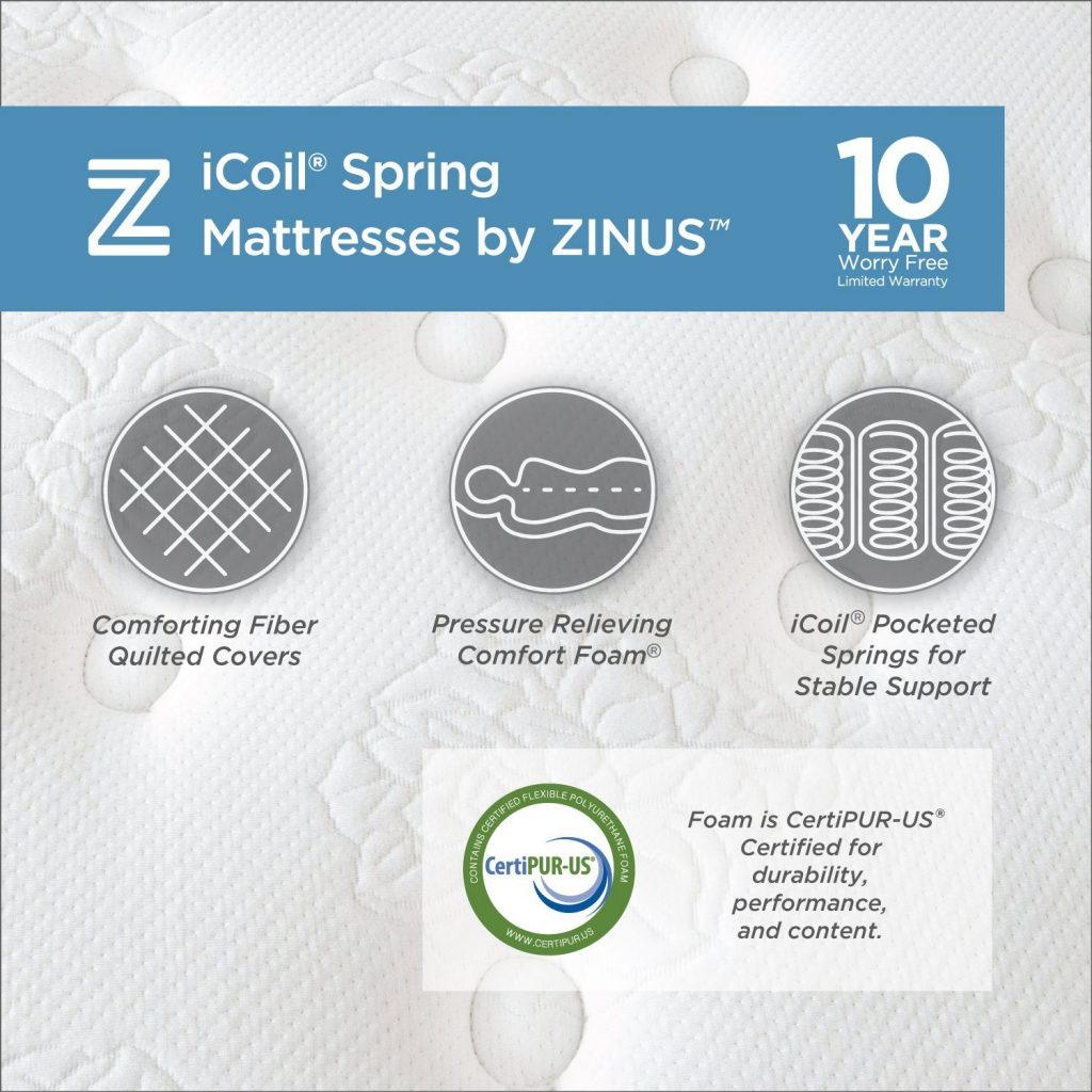 Zinus Night Therapy Spring 13 Inch Deluxe Euro Box Top